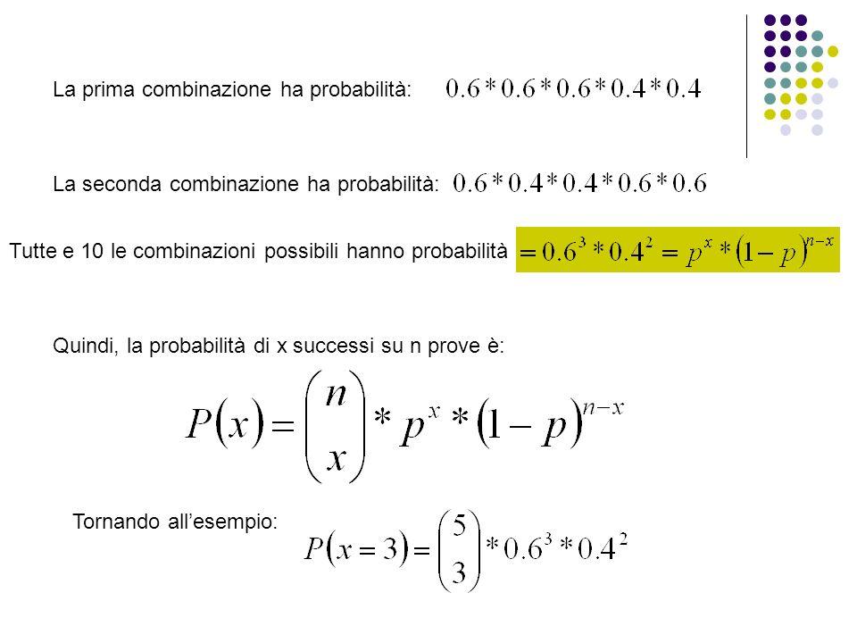 La prima combinazione ha probabilità: