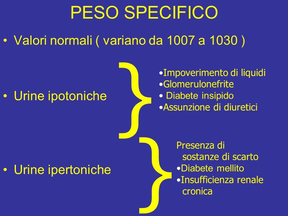 } } PESO SPECIFICO Valori normali ( variano da 1007 a 1030 )
