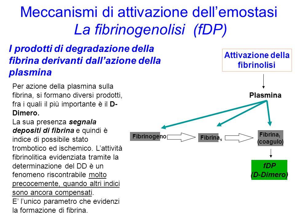 Meccanismi di attivazione dell'emostasi La fibrinogenolisi (fDP)