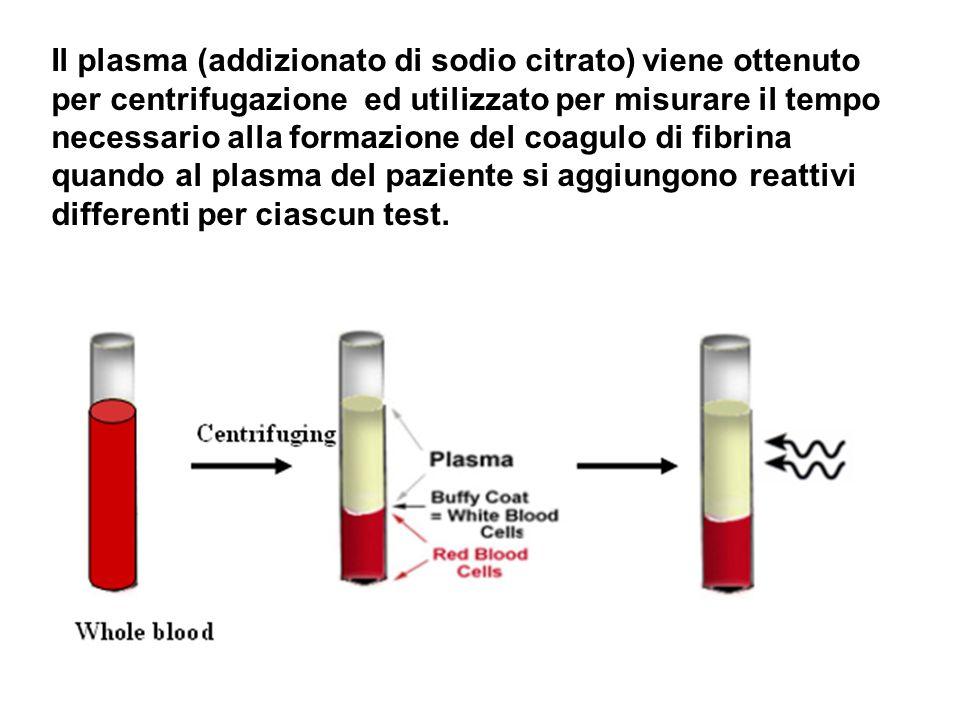 Il plasma (addizionato di sodio citrato) viene ottenuto per centrifugazione ed utilizzato per misurare il tempo necessario alla formazione del coagulo di fibrina quando al plasma del paziente si aggiungono reattivi differenti per ciascun test.