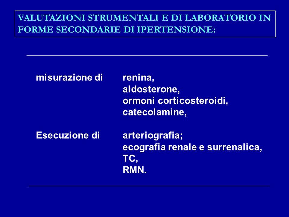 VALUTAZIONI STRUMENTALI E DI LABORATORIO IN FORME SECONDARIE DI IPERTENSIONE: