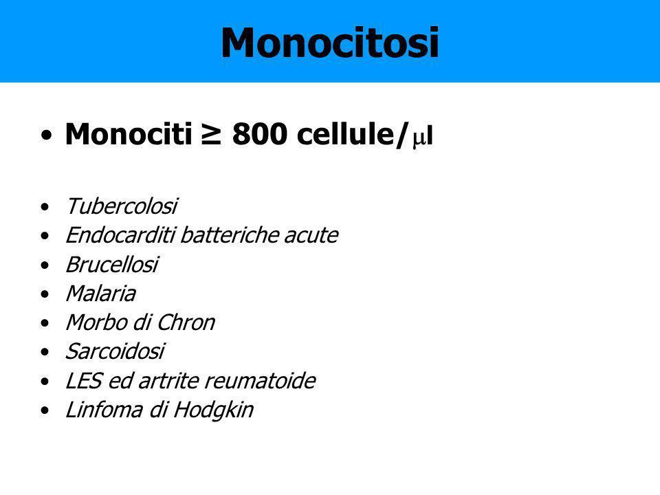 Monocitosi Monociti ≥ 800 cellule/l Tubercolosi