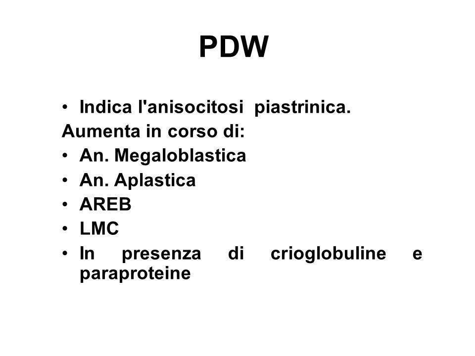 PDW Indica l anisocitosi piastrinica. Aumenta in corso di:
