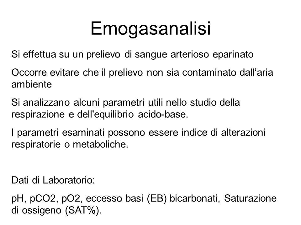 Emogasanalisi Si effettua su un prelievo di sangue arterioso eparinato