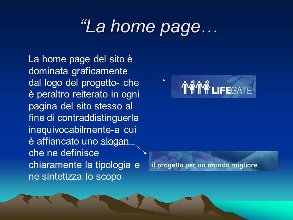 La home page…