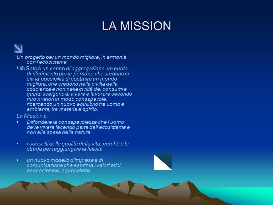 LA MISSION Un progetto per un mondo migliore, in armonia con l ecosistema.