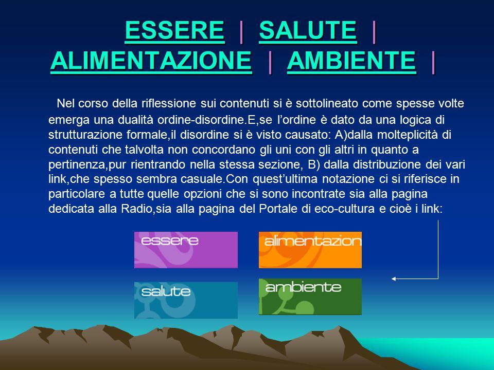 ESSERE | SALUTE | ALIMENTAZIONE | AMBIENTE |