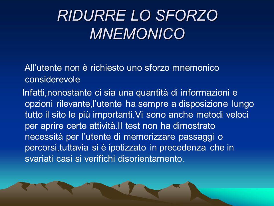 RIDURRE LO SFORZO MNEMONICO