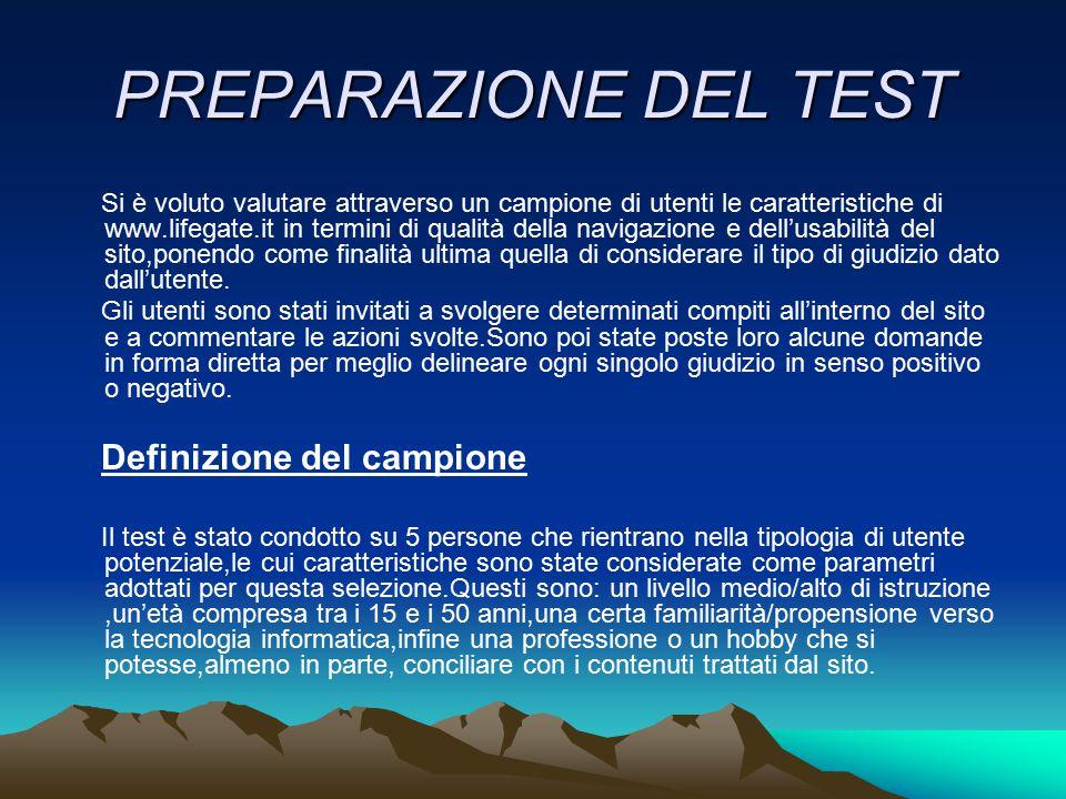 PREPARAZIONE DEL TEST