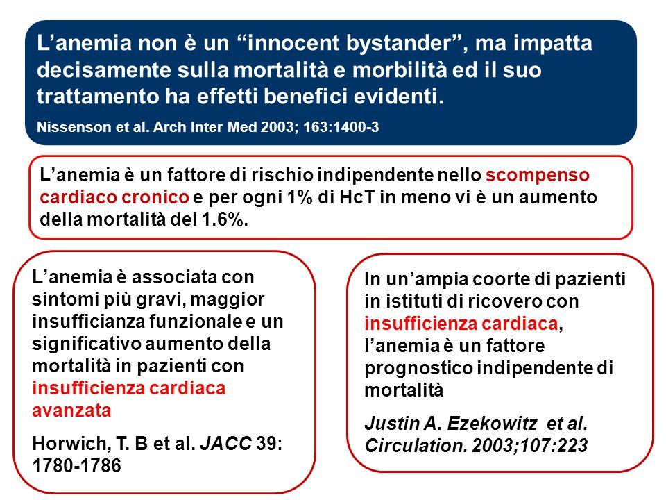 L'anemia non è un innocent bystander , ma impatta decisamente sulla mortalità e morbilità ed il suo trattamento ha effetti benefici evidenti.