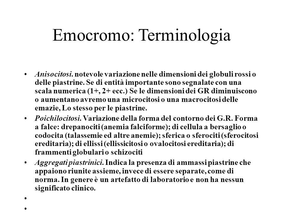 Emocromo: Terminologia