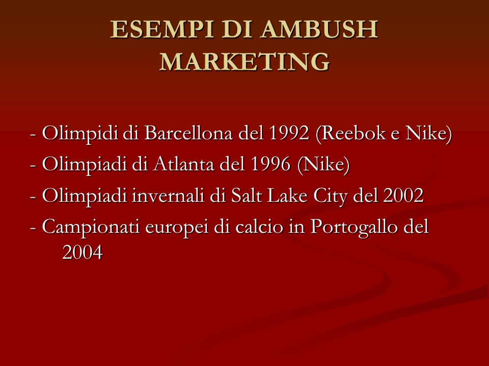 ESEMPI DI AMBUSH MARKETING