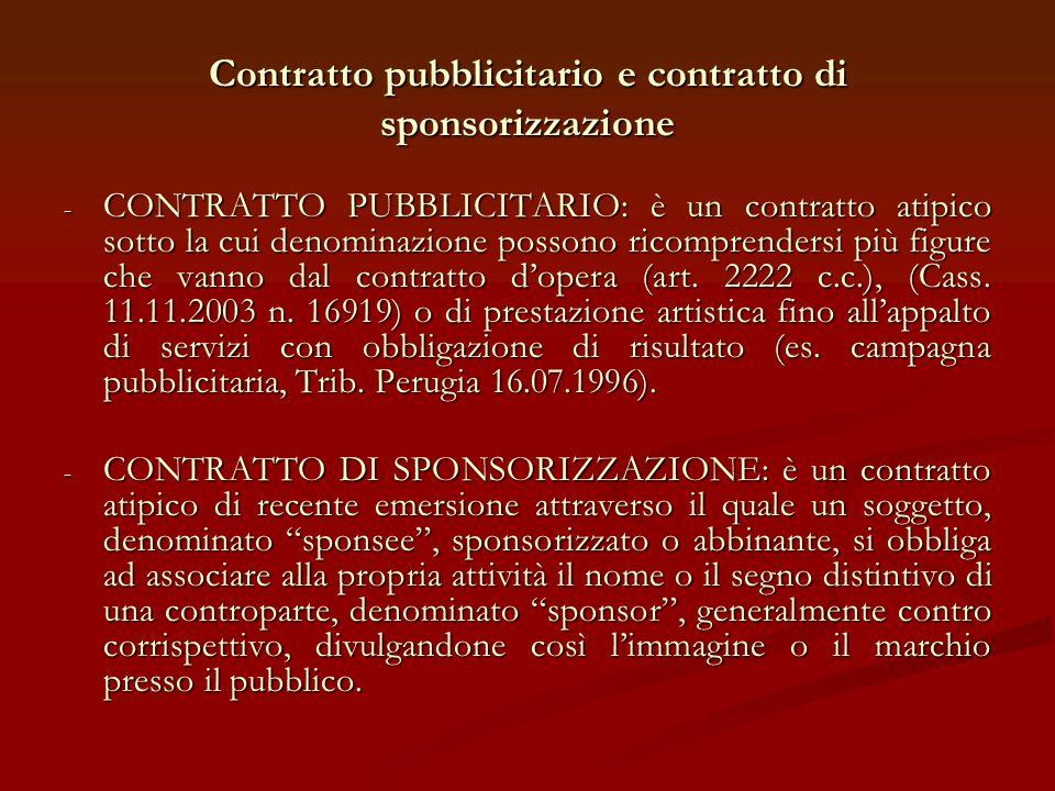 Contratto pubblicitario e contratto di sponsorizzazione