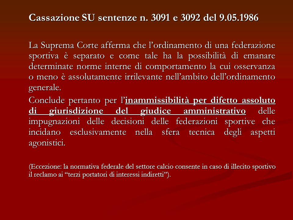 Cassazione SU sentenze n. 3091 e 3092 del 9.05.1986