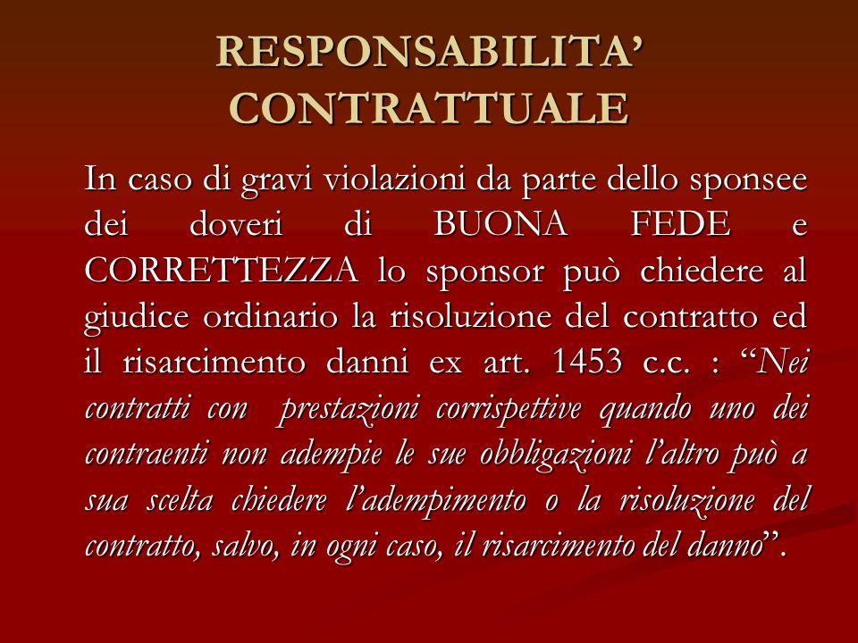RESPONSABILITA' CONTRATTUALE