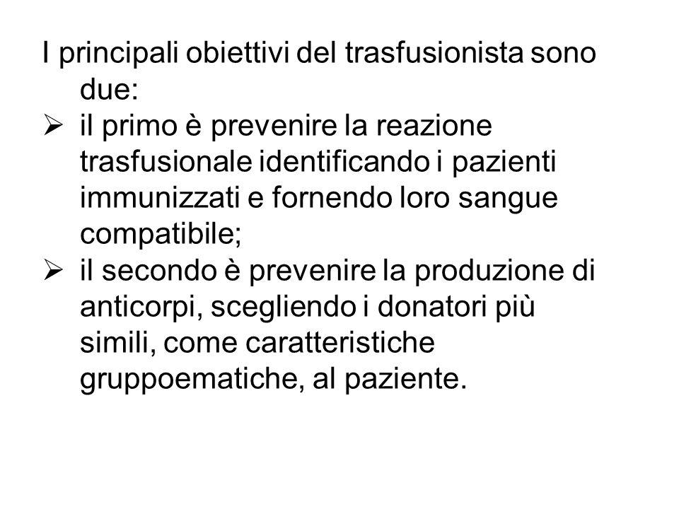I principali obiettivi del trasfusionista sono due: