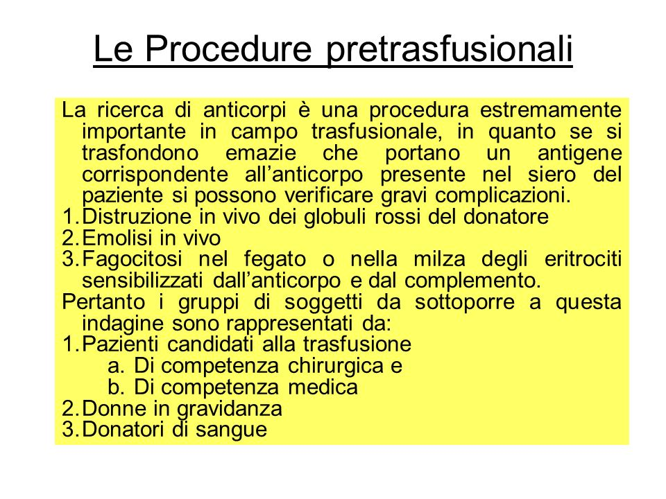 Le Procedure pretrasfusionali