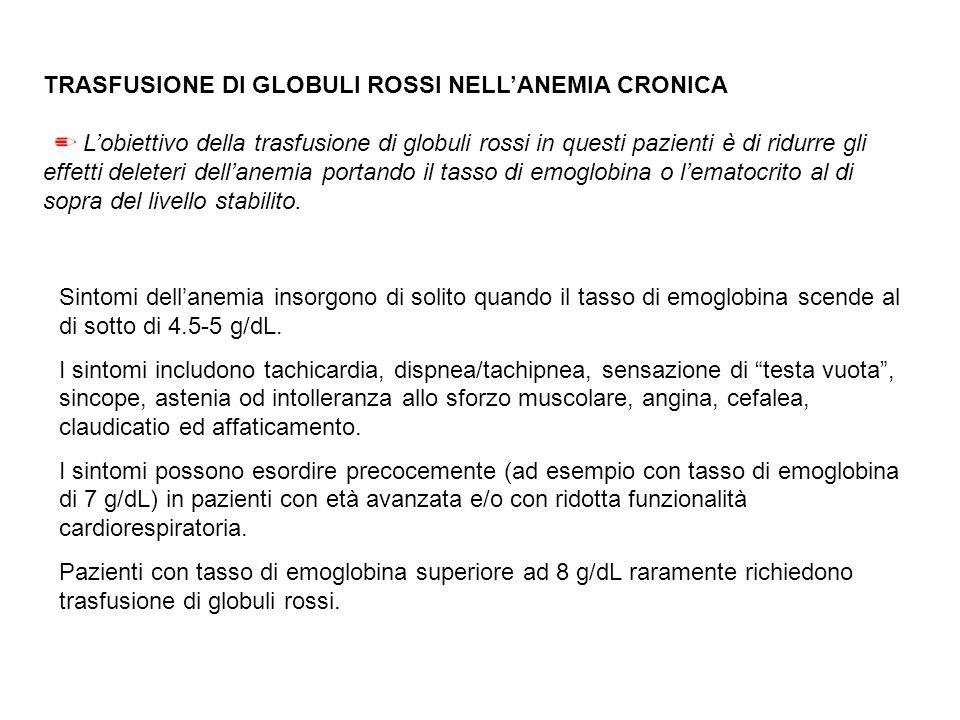 TRASFUSIONE DI GLOBULI ROSSI NELL'ANEMIA CRONICA