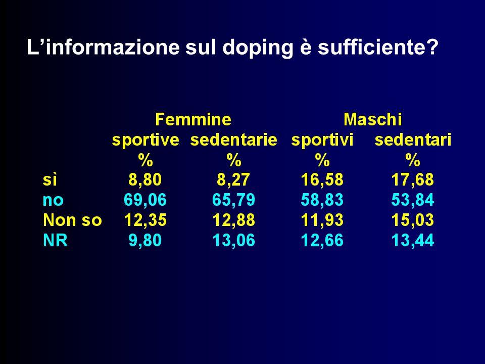 L'informazione sul doping è sufficiente