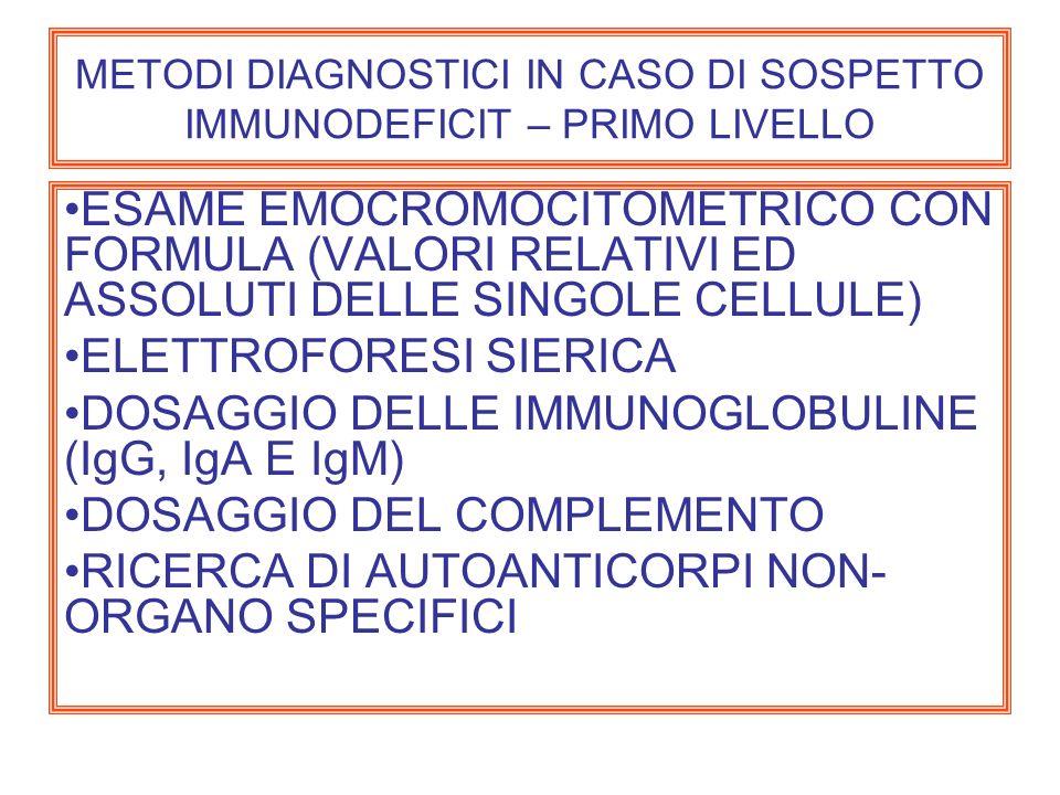METODI DIAGNOSTICI IN CASO DI SOSPETTO IMMUNODEFICIT – PRIMO LIVELLO