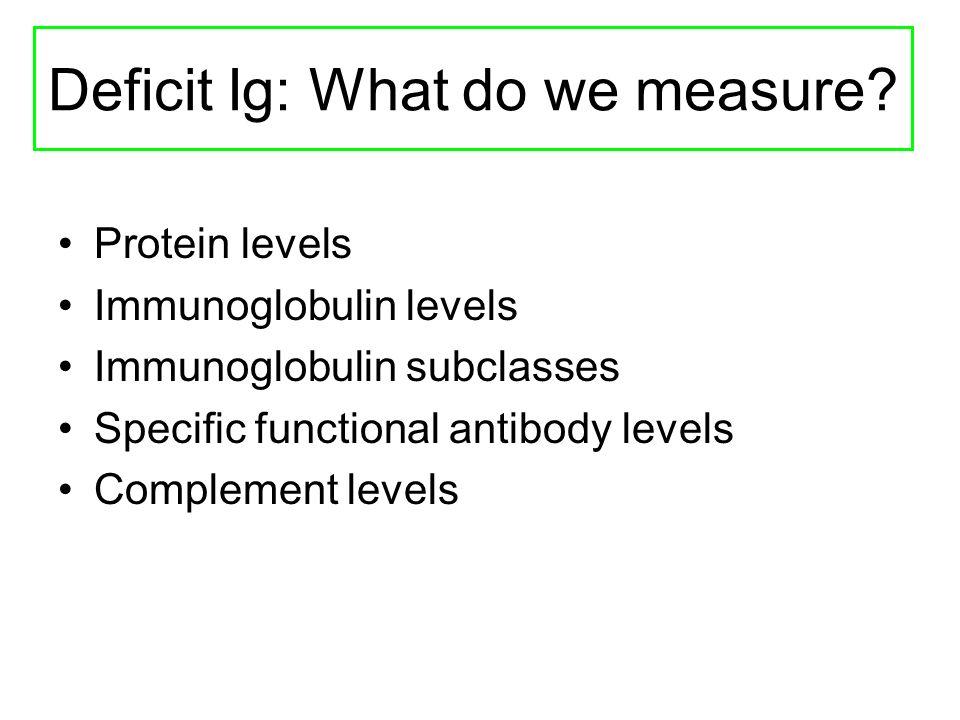 Deficit Ig: What do we measure