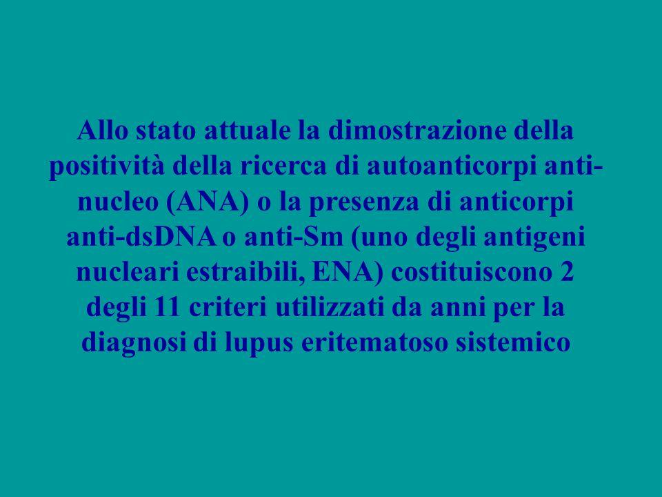 Allo stato attuale la dimostrazione della positività della ricerca di autoanticorpi anti-nucleo (ANA) o la presenza di anticorpi anti-dsDNA o anti-Sm (uno degli antigeni nucleari estraibili, ENA) costituiscono 2 degli 11 criteri utilizzati da anni per la diagnosi di lupus eritematoso sistemico