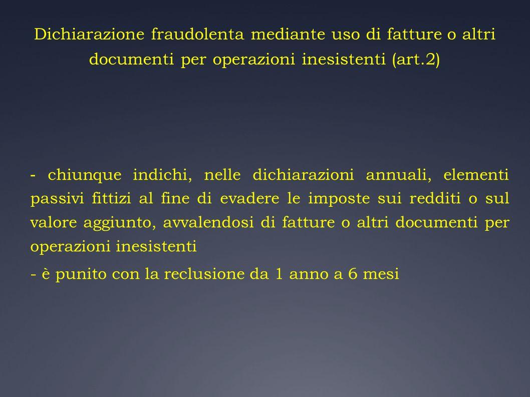 Dichiarazione fraudolenta mediante uso di fatture o altri documenti per operazioni inesistenti (art.2)