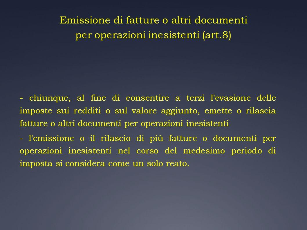 Emissione di fatture o altri documenti per operazioni inesistenti (art