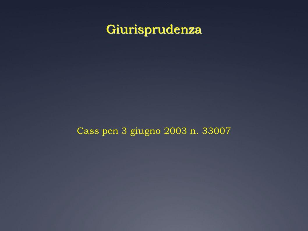 Giurisprudenza Cass pen 3 giugno 2003 n. 33007 16