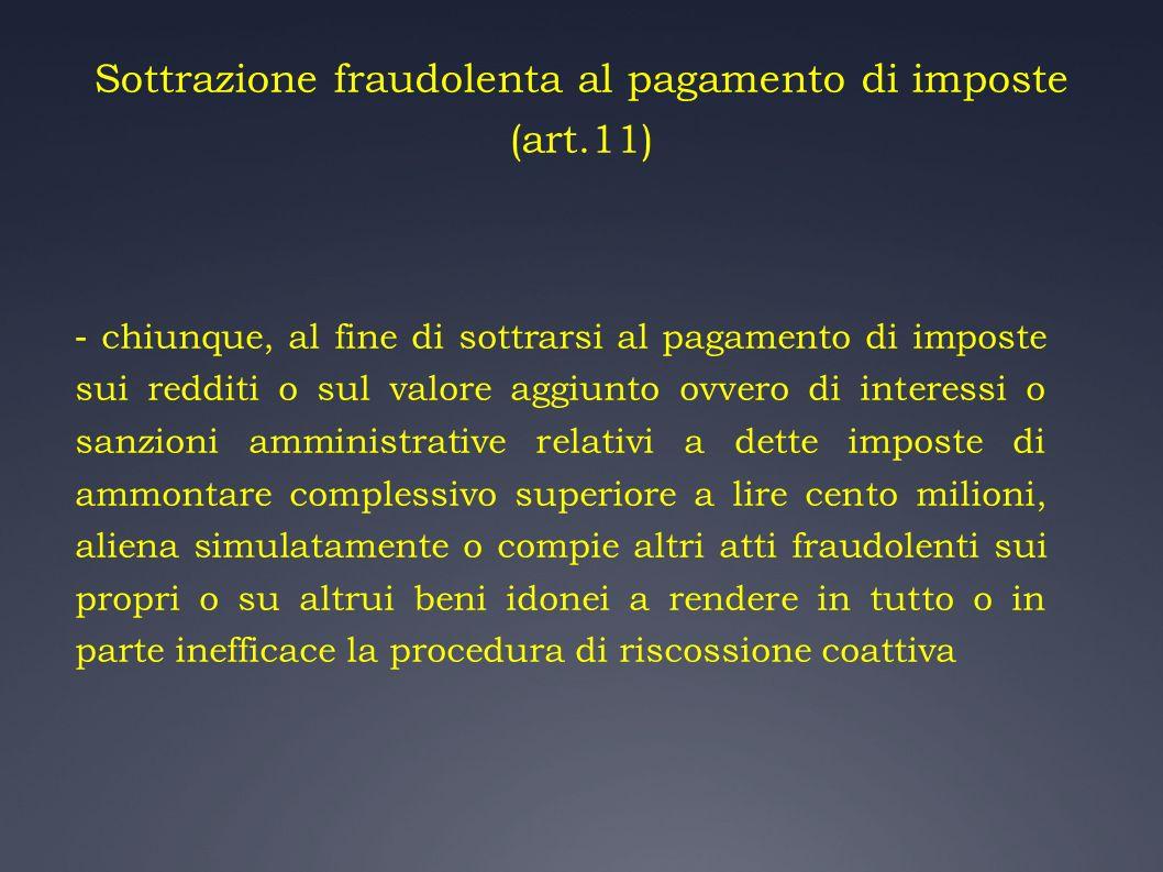 Sottrazione fraudolenta al pagamento di imposte (art.11)