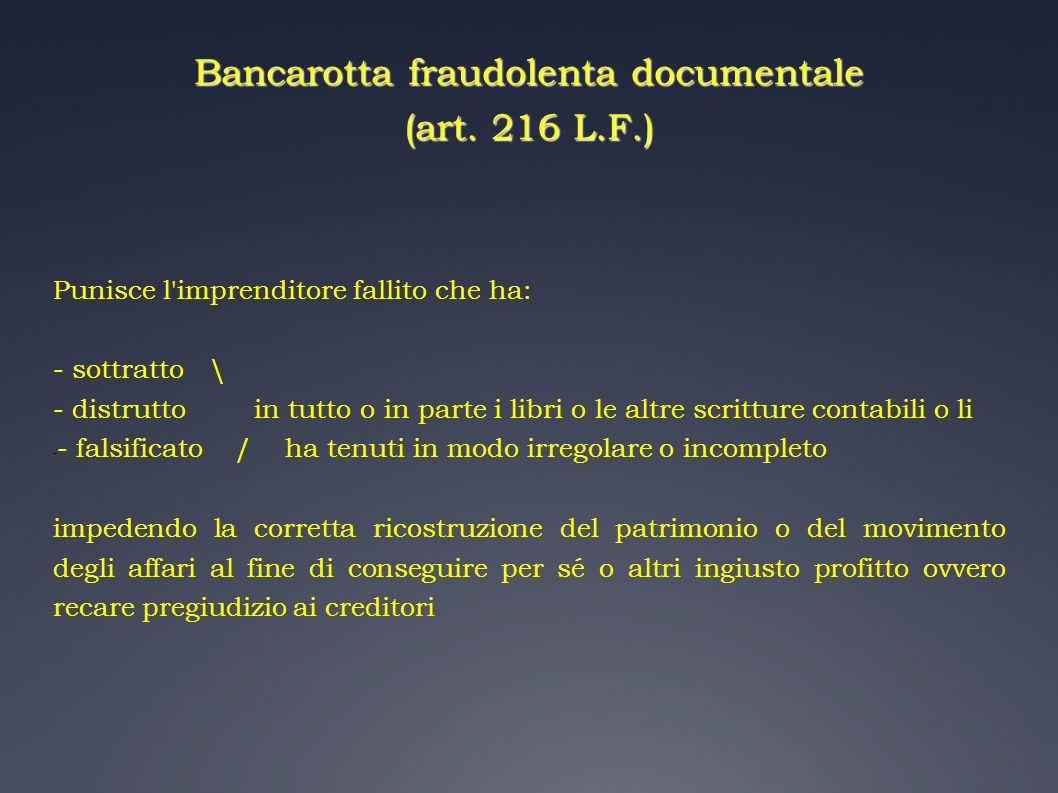 Bancarotta fraudolenta documentale