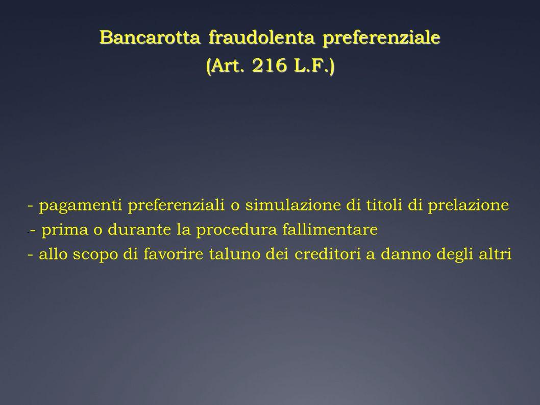Bancarotta fraudolenta preferenziale