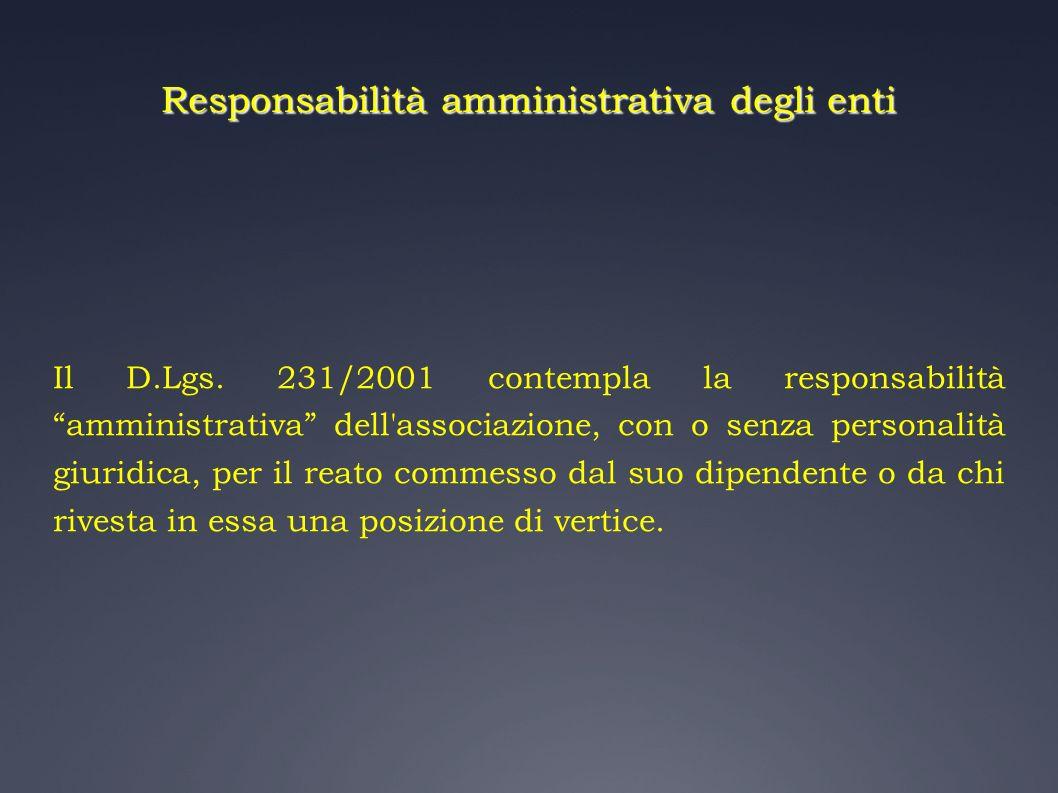 Responsabilità amministrativa degli enti