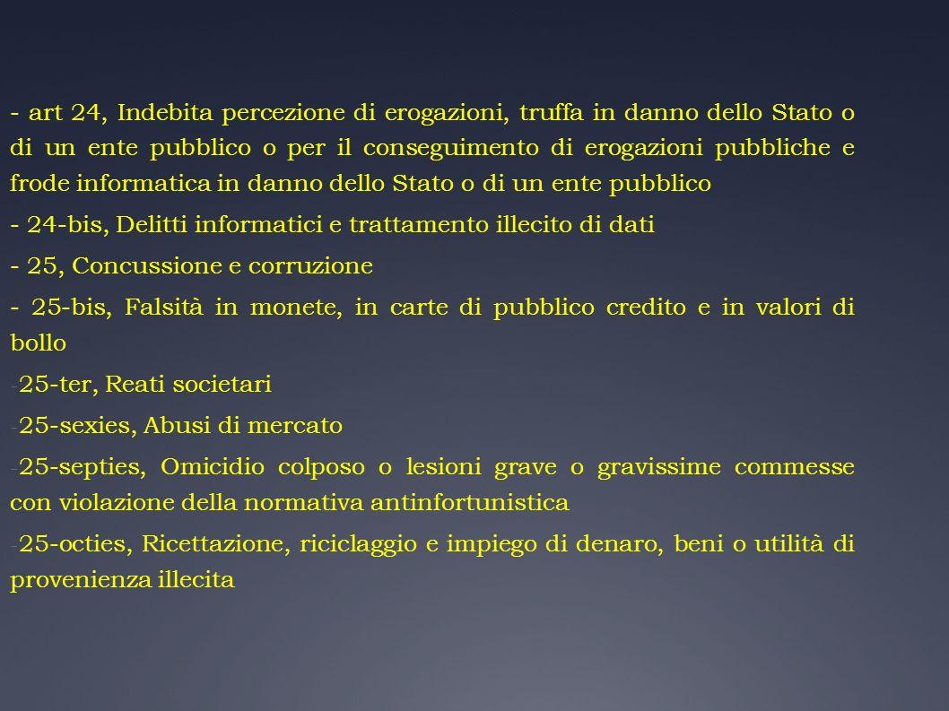 - art 24, Indebita percezione di erogazioni, truffa in danno dello Stato o di un ente pubblico o per il conseguimento di erogazioni pubbliche e frode informatica in danno dello Stato o di un ente pubblico