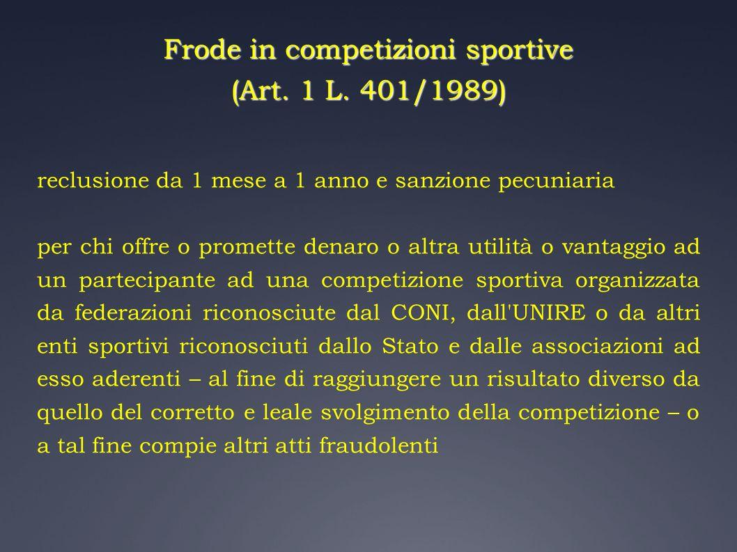 Frode in competizioni sportive (Art. 1 L. 401/1989)