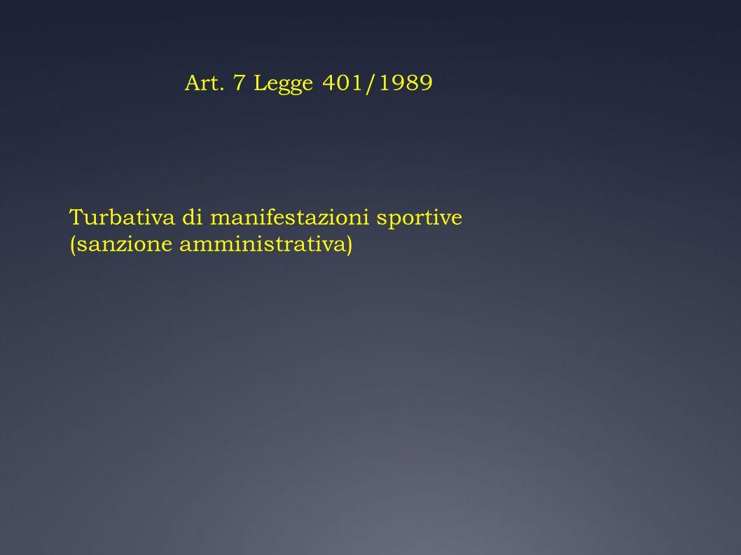 Art. 7 Legge 401/1989 Turbativa di manifestazioni sportive (sanzione amministrativa)