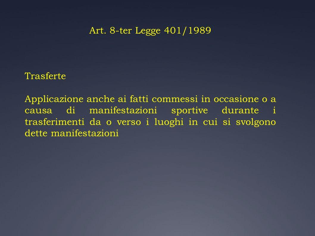 Art. 8-ter Legge 401/1989 Trasferte.