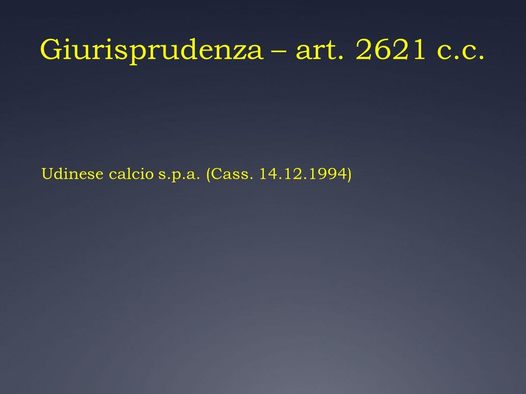 Giurisprudenza – art. 2621 c.c.