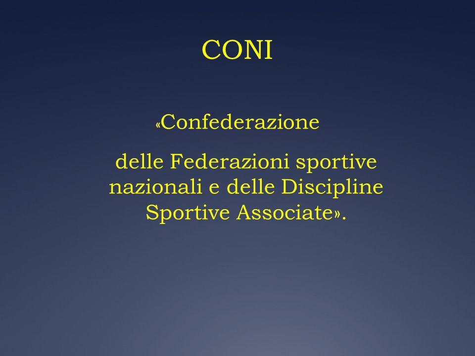 CONI «Confederazione delle Federazioni sportive nazionali e delle Discipline Sportive Associate».