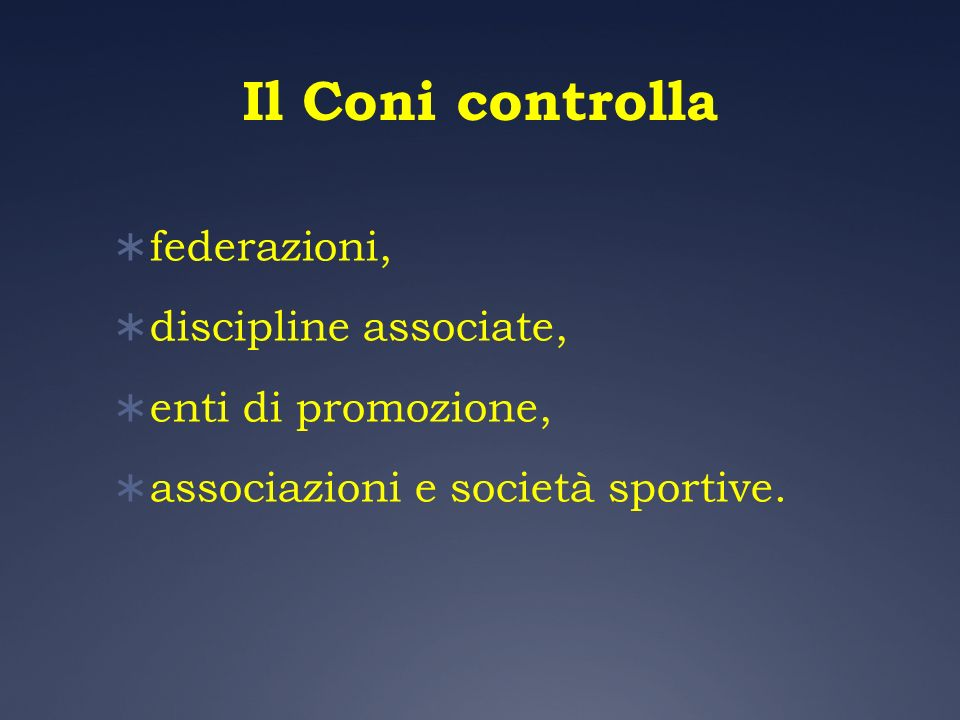 Il Coni controlla federazioni, discipline associate,