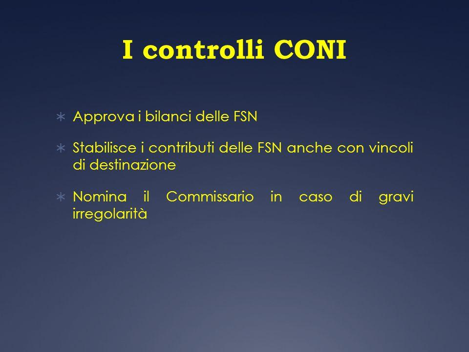 I controlli CONI Approva i bilanci delle FSN