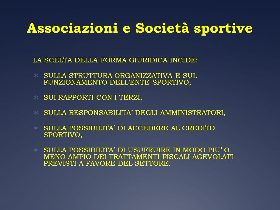 Associazioni e Società sportive
