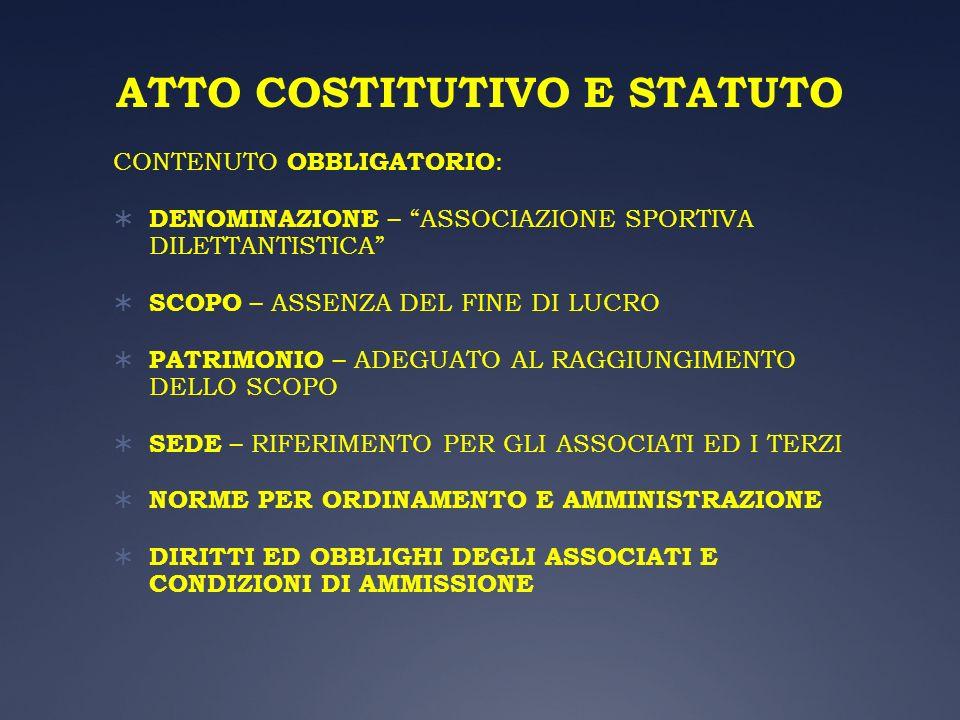 ATTO COSTITUTIVO E STATUTO