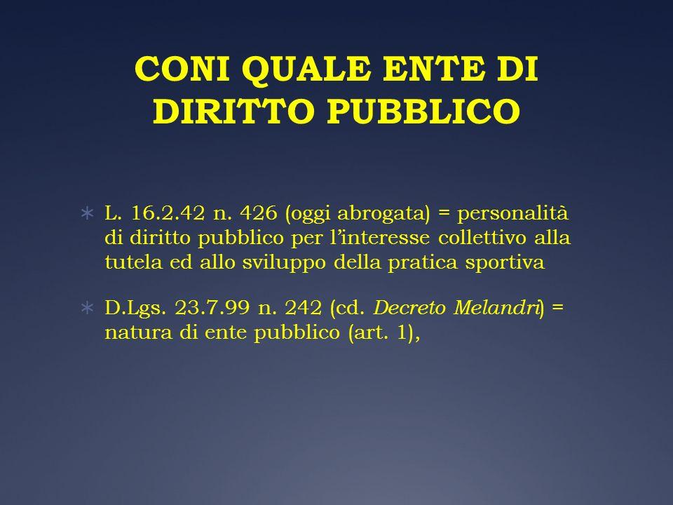 CONI QUALE ENTE DI DIRITTO PUBBLICO