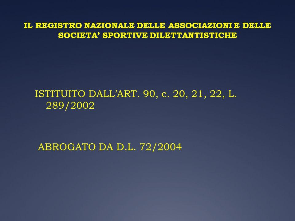 ISTITUITO DALL'ART. 90, c. 20, 21, 22, L. 289/2002