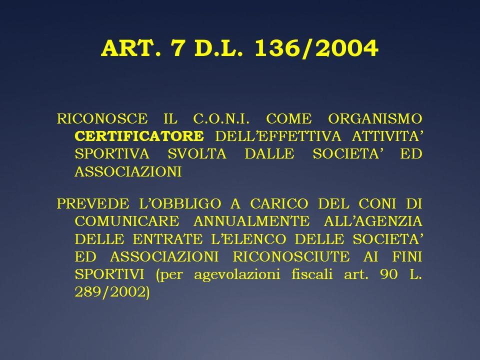 ART. 7 D.L. 136/2004 RICONOSCE IL C.O.N.I. COME ORGANISMO CERTIFICATORE DELL'EFFETTIVA ATTIVITA' SPORTIVA SVOLTA DALLE SOCIETA' ED ASSOCIAZIONI.