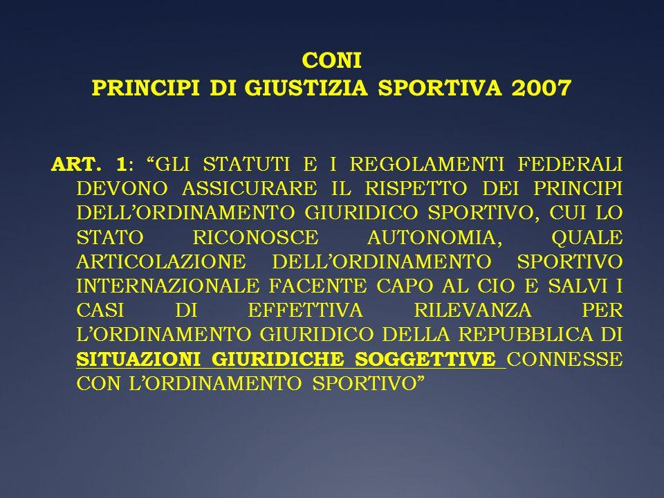 CONI PRINCIPI DI GIUSTIZIA SPORTIVA 2007