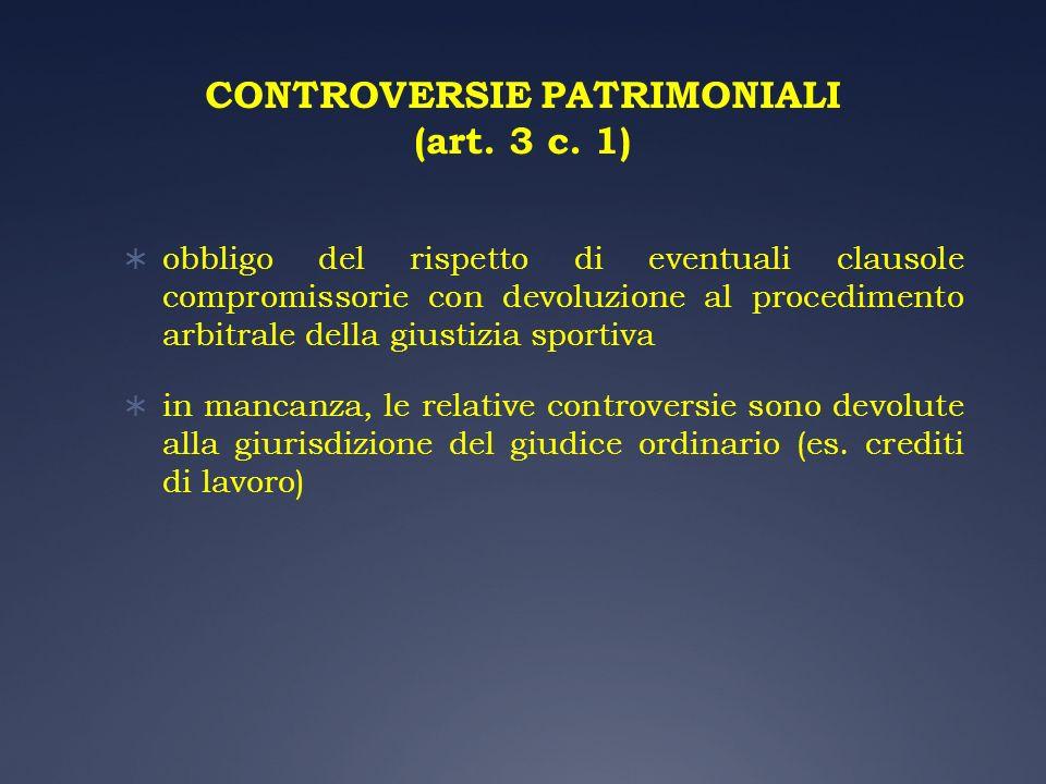 CONTROVERSIE PATRIMONIALI (art. 3 c. 1)