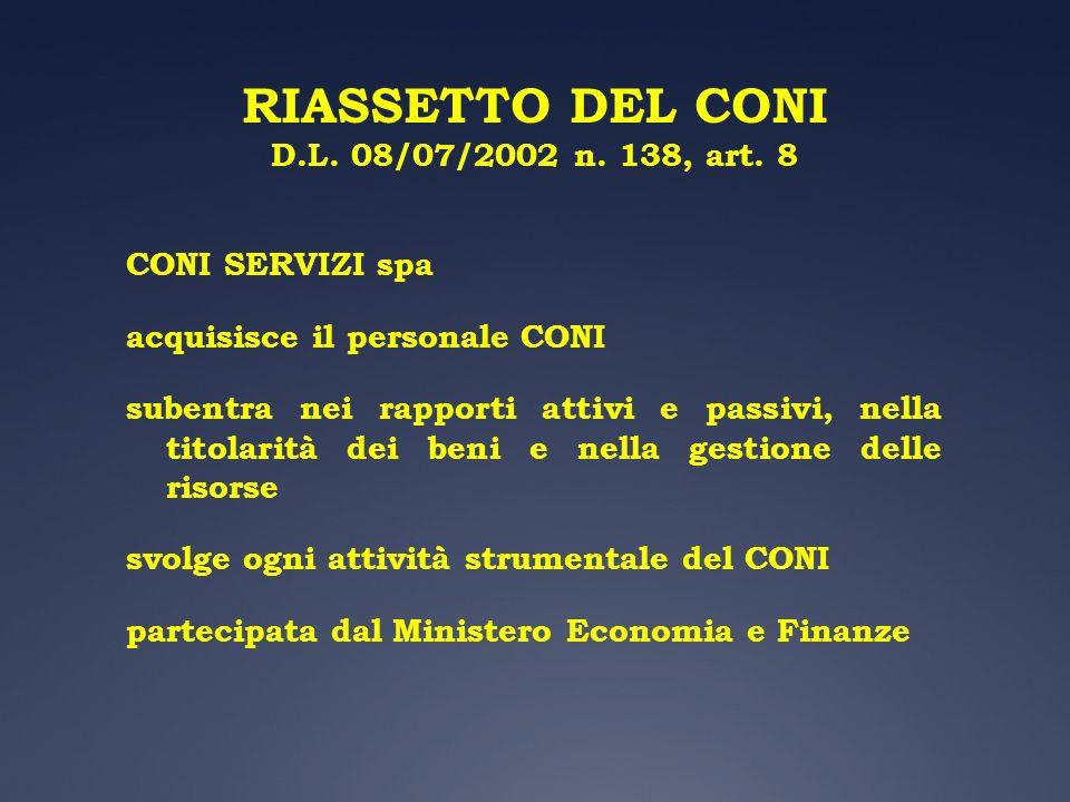 RIASSETTO DEL CONI D.L. 08/07/2002 n. 138, art. 8