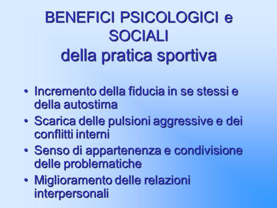 BENEFICI PSICOLOGICI e SOCIALI della pratica sportiva